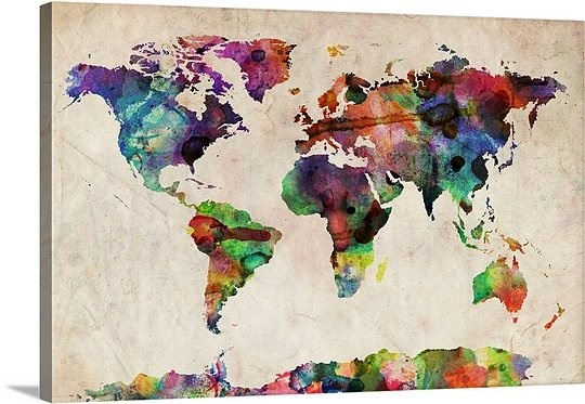 I wonder if I could create this using a world map (cut out continents, then use the outline to be the white part and do the colored part, oh hell, guess it is worth that much