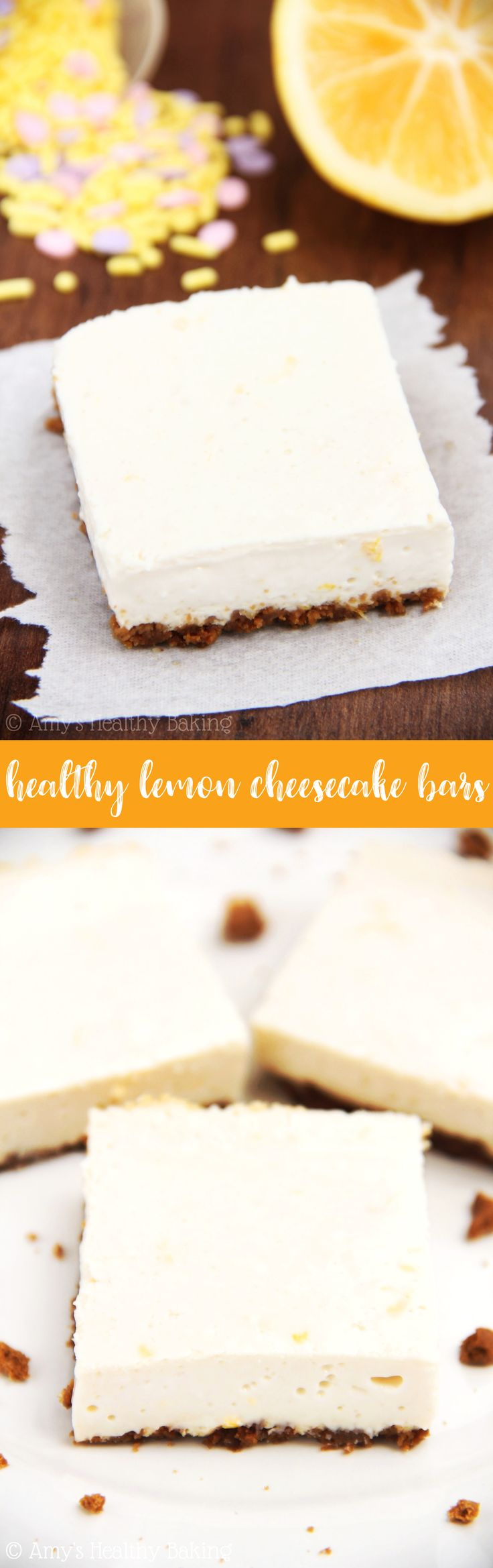 Healthy Lemon Cheesecake Bars -- this recipe is so easy to make! Sweet, creamy & only 105 calories! (And that gingersnap crust is AMAZING!) | easy lemon cheesecake recipe | simple lemon cheesecake | best lemon cheesecake bars