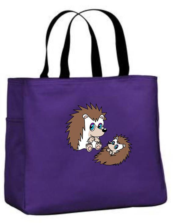 Hedgehog design tote bag  hedgehog themed gift  polyester