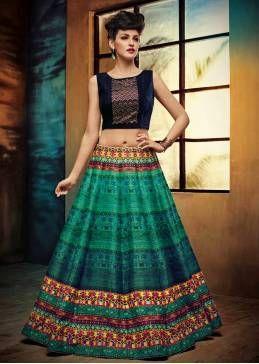 Latest Green Banglore Satin Silk Semi Stitched Free Size Xxl Lehenga Choli For Women