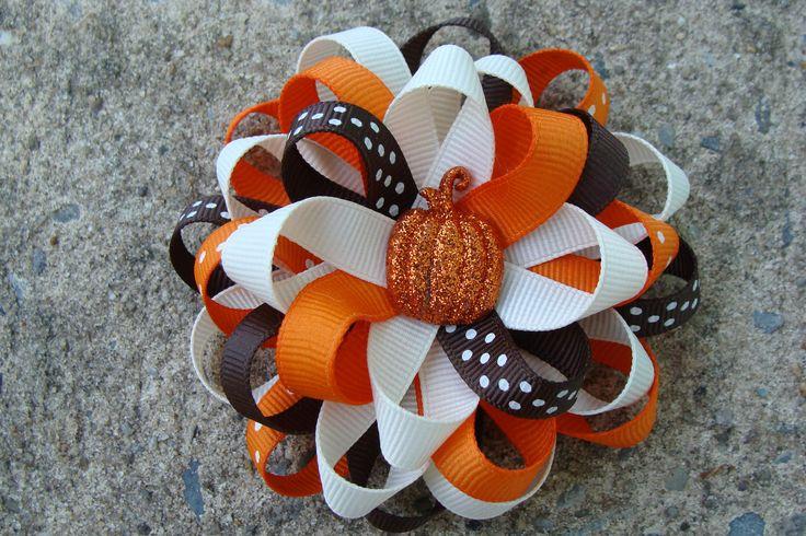 Fall Hair Bow Thanksgiving Hair Bow Pumpkin Hair Bow Hair Clip. $6.00, via Etsy.