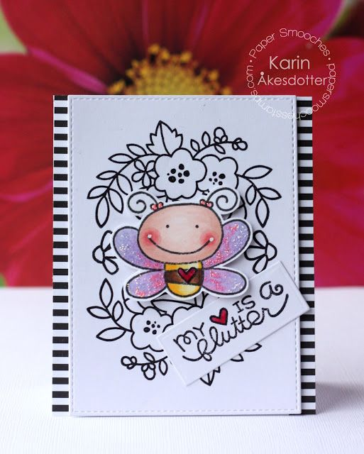 My Heart is a Flutter card by Karin Akesdotter for Paper