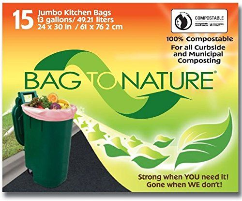 Bag-to-nature   Mbp24205 Jumbo Kitchen Compost Bags, 13-gallon, 24 x30 , 15-count Visit the image link more details.