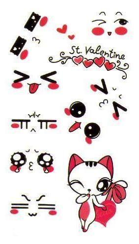 1e9c992f1 Cute Kitty Face Expression Mini Cartoon Temporary Tattoo Sticker #tattoo  #flower #boho #calligraphy #sticker #temporary #stylish #letter #animal  #symbol