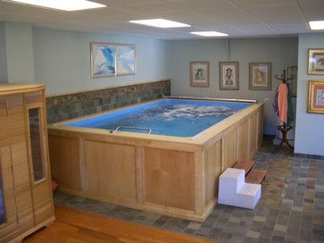 traditional basement remodeling and endless pools on