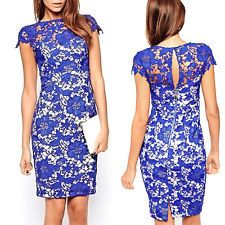 Fashion Women Floral Lace Bodycon Short Sleeve Cocktail Evening Party Mini Dress