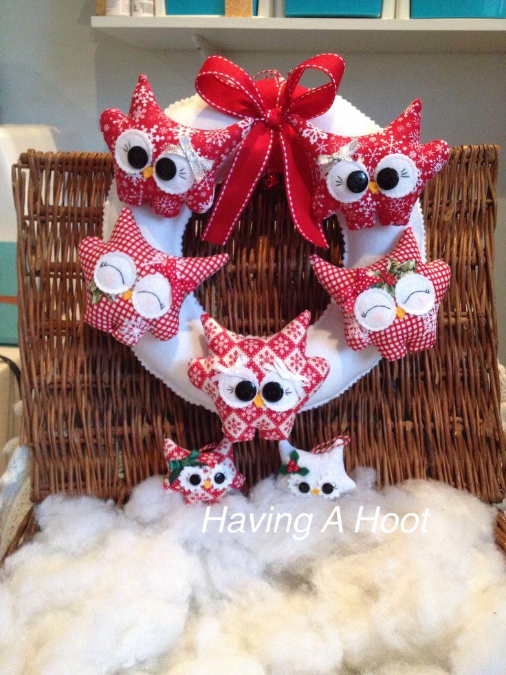 ❤️ Hoot Christmas Wreath, Handmade and 2 Little Teenie Christmas Tree Decorations ❤️