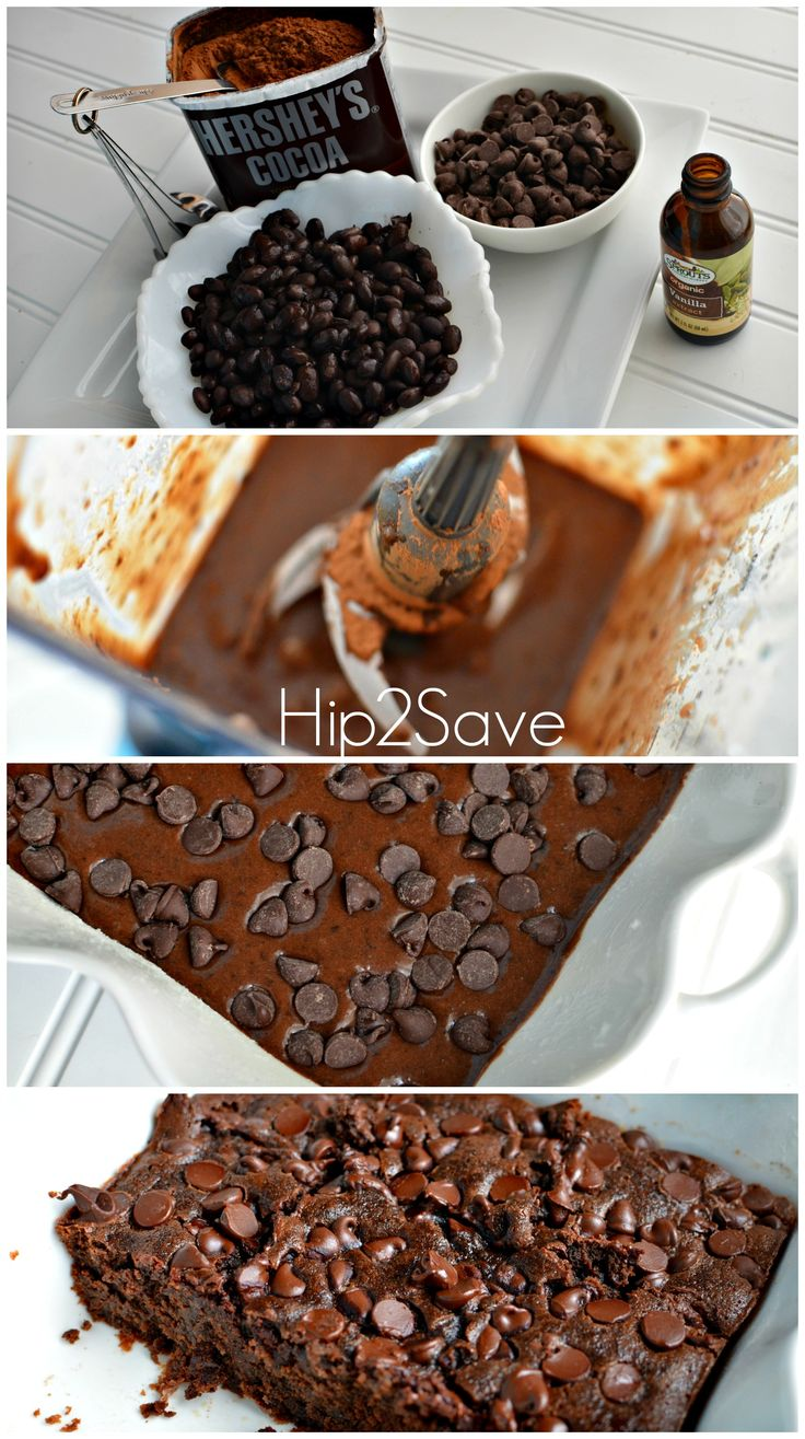 I prefer: 1 can black beans, 3 eggs, 1/3 cup oil, 2 Tbs unsweetened cocoa powder, 1 cup Dates pre soaked,  1 teaspoon vanilla, 1/2 teaspoon baking pwd (or 1/4tsp B. Soda and a few drops of lemon juice) 1 pinch salt 1/2 cup chocolate chips