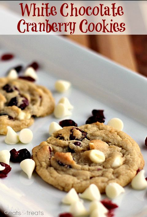 White Chocolate Cranberry Cookies ~ Soft, chewy cookies full of white chocolate chips and dried cranberries!