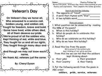 Veteran's Day Poem with Follow Up and Bubble Map
