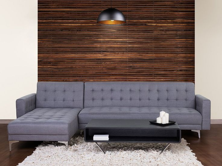 Bed Sofa Corner Sleeper Sofa - Polyester Uphostery - ABERDEEN - Grey | Follow Beliani UK for more design inspirations! #sofabed #convertible
