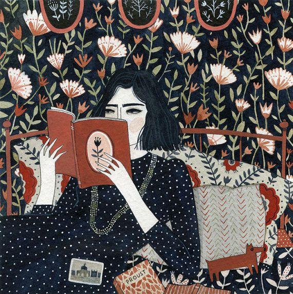reading print by ybryksenkova on Etsy, $20.00 #illustration #books #reading