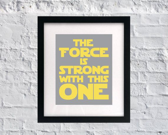 The force is strong with this one yoda quote baby nursery wall art saying stars wars quote for nursery
