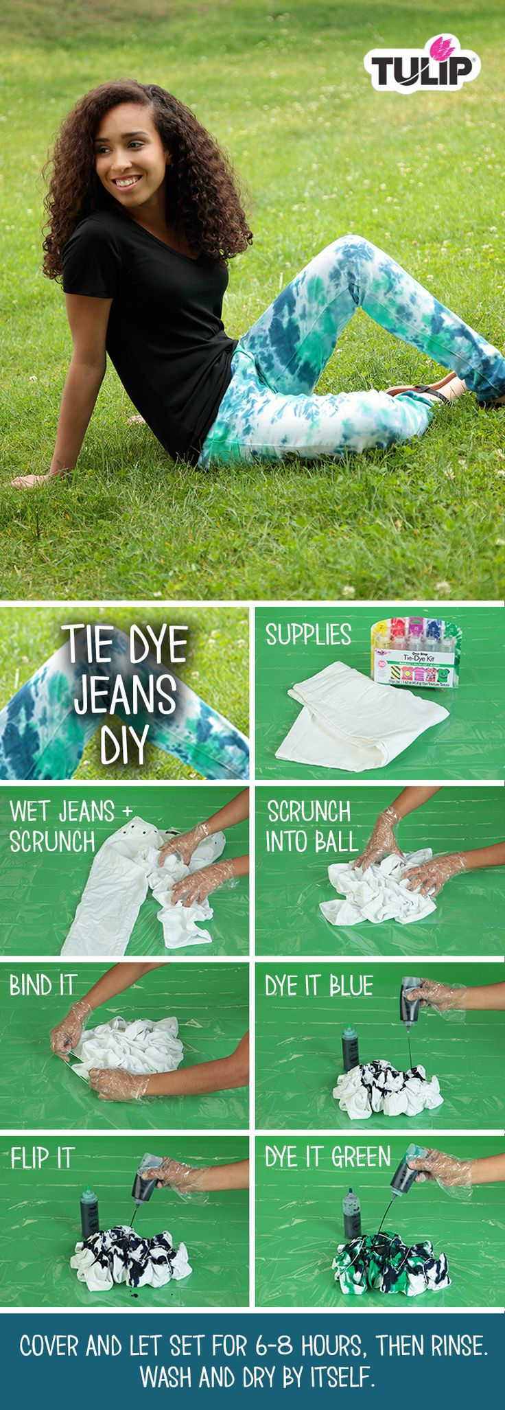 Sweet. How to Tie Dye Jeans using Tulip One-Step Tie Dye!