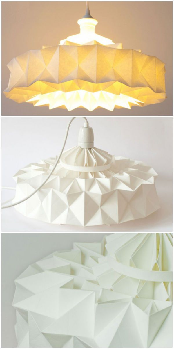 Lamp from Wall Paper #Lamp, #Origami,  #RecycledArt