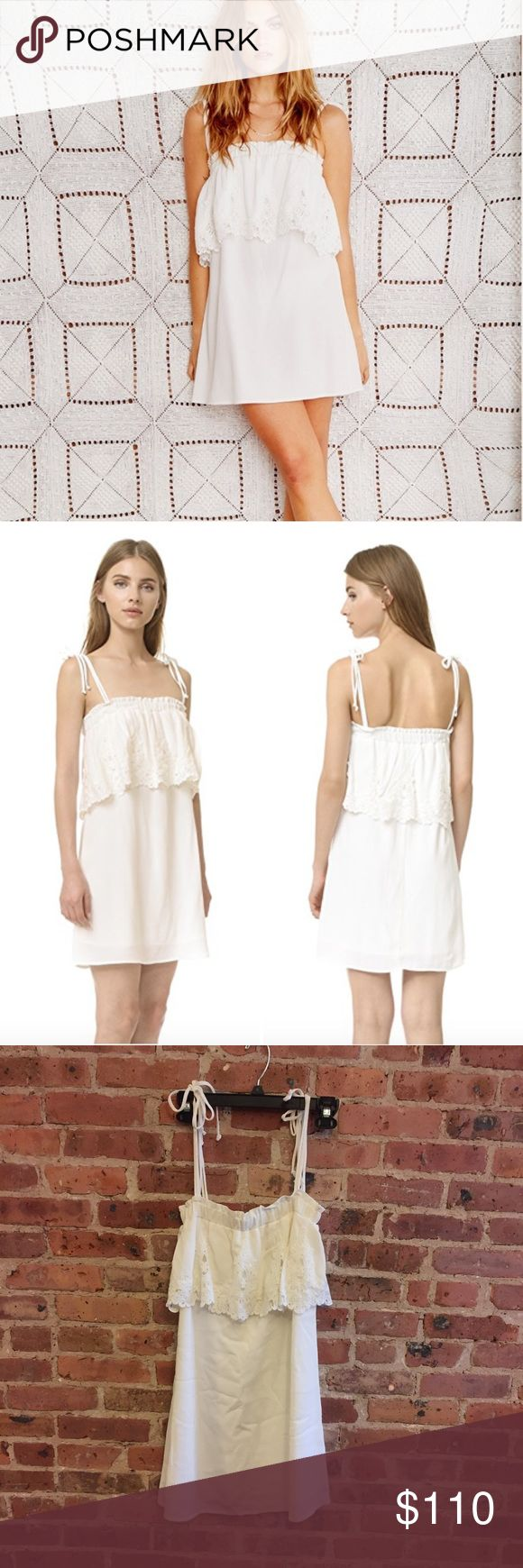 Stone Cold Fox Muriel Mini Lace Popover Dress 1 A lace-trimmed ruffle details the covered elastic top hem of this relaxed Stone Cold Fox dress. Tie shoulder straps. Lined.   Fabric: Crepe. 100% rayon.  Size 1. Great condition - no stains or holes. Stone Cold Fox Dresses Mini