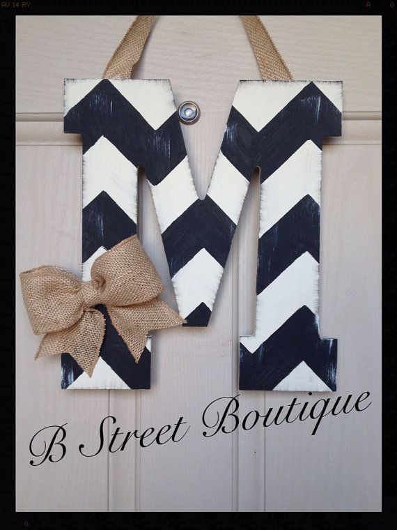 Distressed Chevron Wooden Door Hanging Letters by bstreetboutique, $18.00