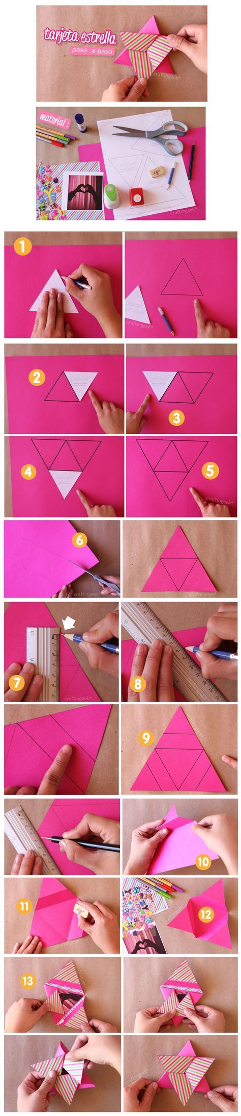 Tarjeta estrella / Star Card - Scrapbook - idea para el día de la madre. Paso a paso y más acá: http://www.craftingeek.me/2012/04/tarjeta-estrella-scrapbook-paso-paso.html