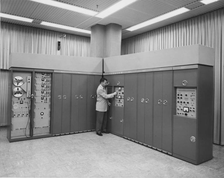 """California Historical Society Collection, 1860-1960 :: Los Angeles Area Chamber of Commerce Collection, 1890-1960 :: """"Translator"""" a computer for missile flight simulation (built by Space Technology Laboratories, a division of the Ramo-Wooldridge Corporation), May 29, 1957"""