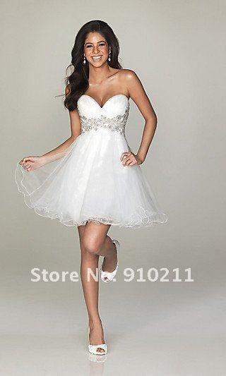 imagenes de vestidos de 15 años cortos blancos - aVestidos.com