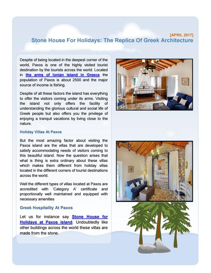 Stone House For Holidays: The Replica Of Greek Architecture
