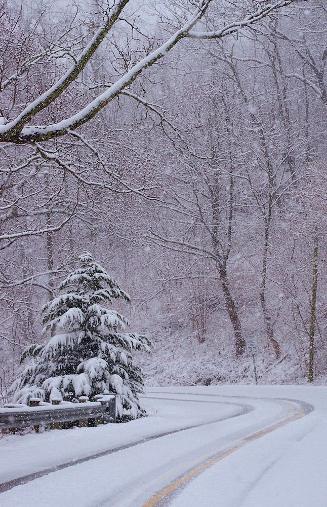 Beautiful snow day drive in the Blue Ridge Mountains in Asheville NC
