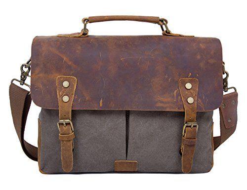 Ecosusi Herren Damen Leder Tasche Messenger Bags Handtasche Aktentasche schultertasche Umhängetasche - http://herrentaschenkaufen.de/ecosusi/armeegruen-ecosusi-herren-damen-leder-tasche