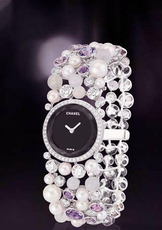 Chanel ~ pearl & diamond watch