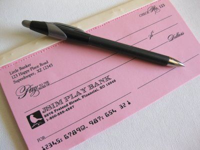 Printable pretend checks. Great for life skills- even though credit cards are increasingly popular most people pay bills in check!