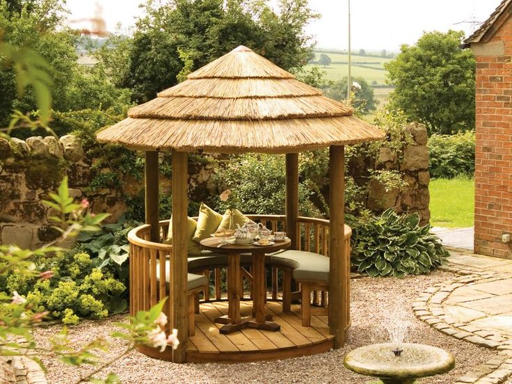 Made from wood and often available in a kit, gazebos - such as the small colonial-style gazebo shown here - can be place almost anywhere: in the yard, next to a pool or surrounded by pots of subtropical plants on a deck. Gazebos offer shaded seating for drinks or afternoon snack, although they can't keep out most of the elements; some designs are more weatherproof with removable slatted sides. Netting the sides will also help keep insects out.
