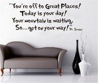 Dr Seuss Stickers You're Off To Great Places Vinyl Wall Decal Sticker Quote School Description: HO