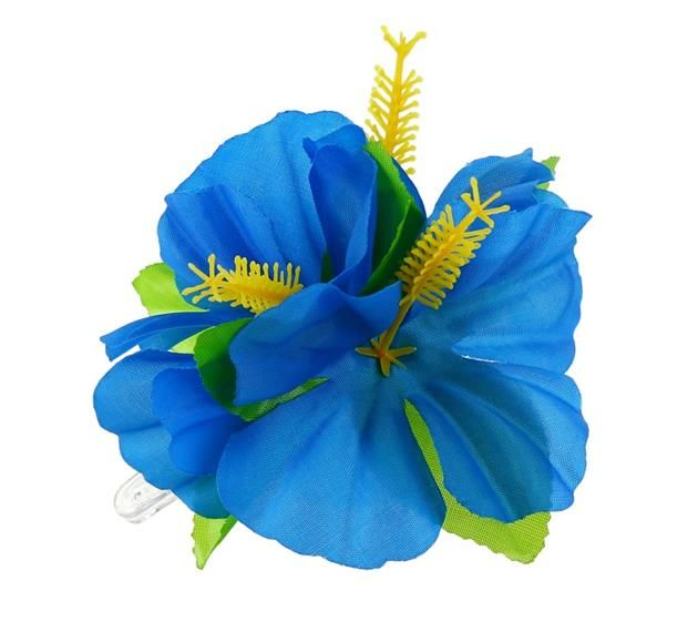 Przypinka hawajska, duża - niebieska.  Przypinki do włosów są świetnym pomysłem. Wcale nie musisz korzystać z usług fryzjera, aby stworzyć niepowtarzalną fryzurę. Rozpuść włosy, lub delikatnie je upnij, dodaj przypinkę w hawajskim stylu i gotowe- wyglądasz niesamowicie! :)