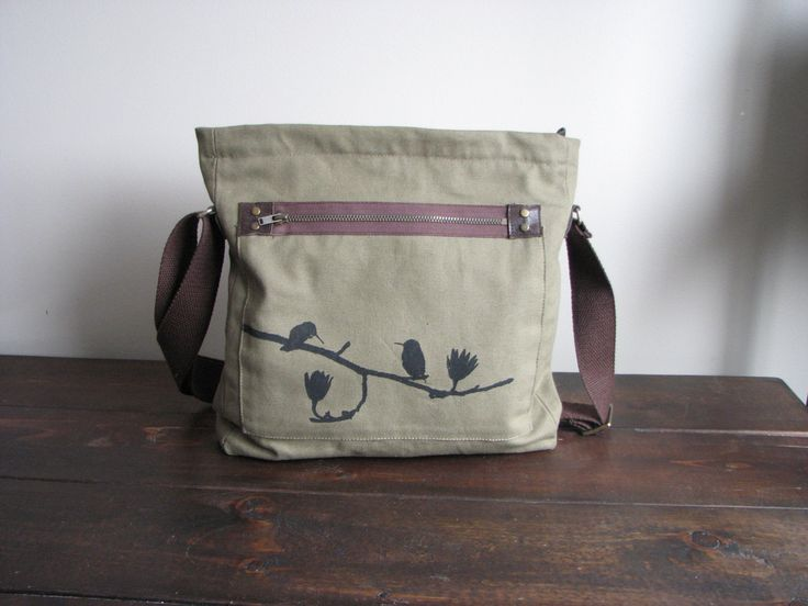 Birds sitting on a tree Messenger / Canvas Bag / purse. Cross body. by chilipepperdesign on Etsy https://www.etsy.com/listing/165073007/birds-sitting-on-a-tree-messenger-canvas