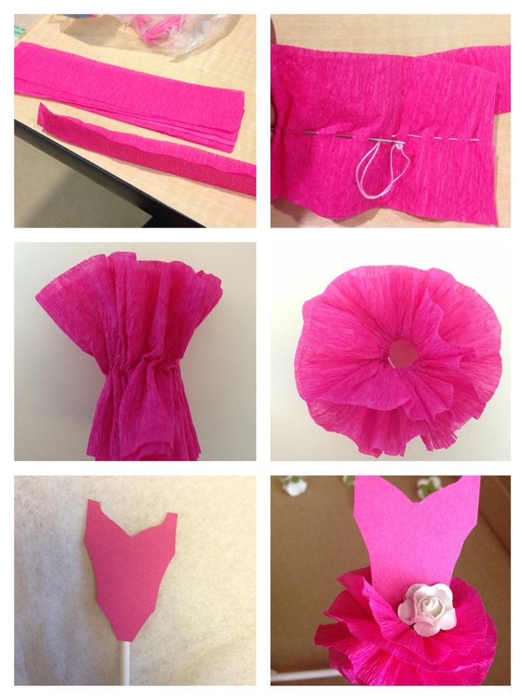 Cupcake tutu topper, crepe paper tutu tutorial, tutu cupcake, ballerina birthday, ballerina cupcake topper
