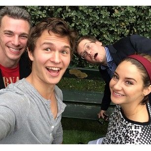 "Ansel, Shailene and John Green came together again to gather around this honorary bench on the Fox Studio lot. | The Cast Of ""The Fault In The Stars"" Reunited To Recreate The Bench Kiss"