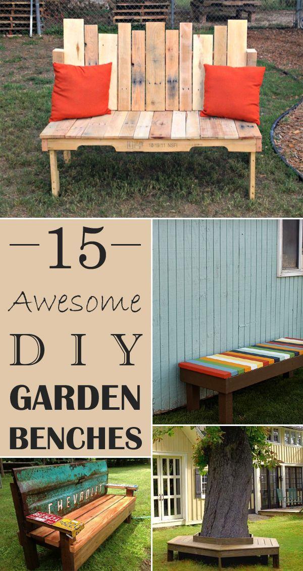 15 Awesome DIY Garden Benches