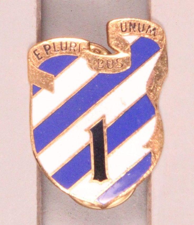 U.S. Army DI Pin:  1st Brigade, 3rd Infantry Division - cb, German made, gilt