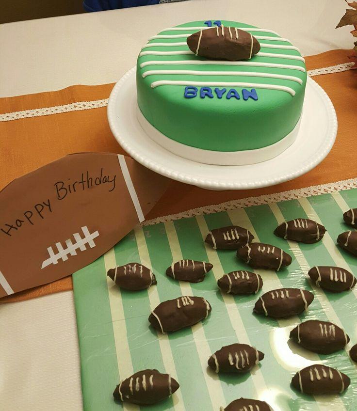 Football birthday cake. With Oreo Footballs  .estera