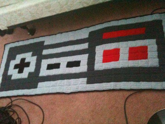 Crochet Xbox Controller : Crochet Nintendo controller pixel crochet rug by harmonden