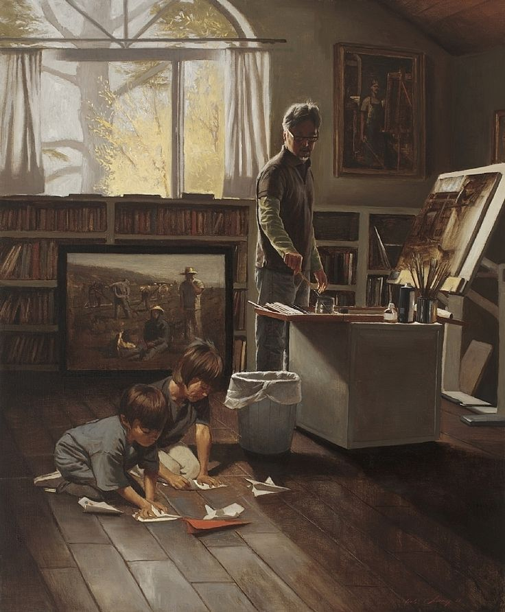 "Artist and Sons by Warren Chang Oil ~ 40"" x 32"""