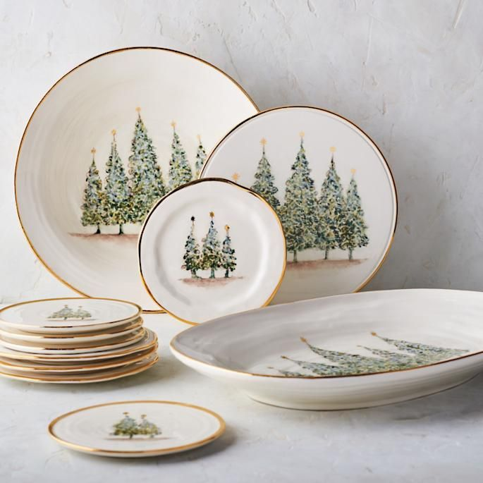 Natale Gold Salad Plates Set Of Four Tableware Collection Christmas Kitchen Decor Holiday Event Decor