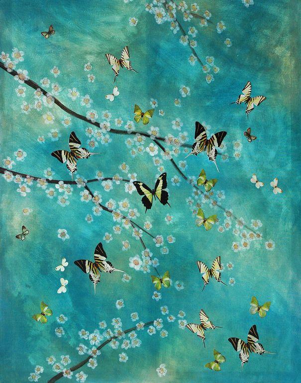 "Saatchi Online Artist: Lily Greenwood; Paint, 2009, Mixed Media ""Spring Butterflies"""