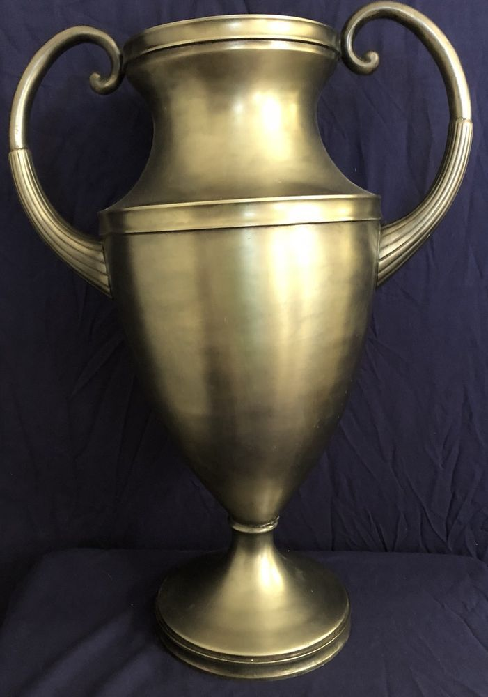 "Equestrian Trophy Urn 21""H Solid Brass Nickel Finish No Longer Avail Restoration  | eBay"