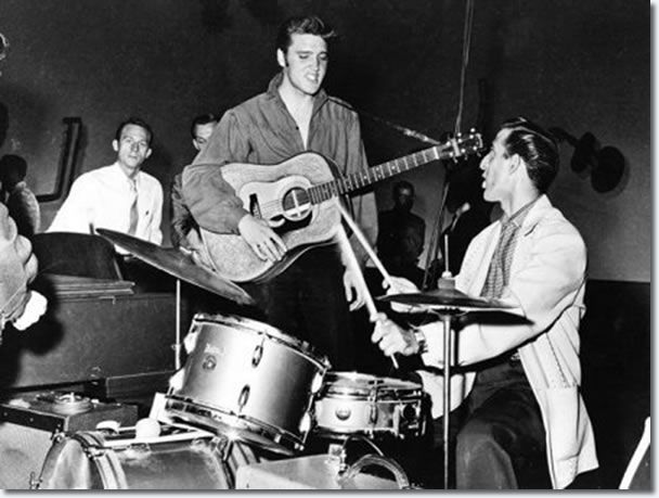 CELEBRATING ELVIS' 81ST BIRTHDAY WITH HIS DRUMMER AND FRIEND DJ FONTANA -  Photo: Elvis 1956 September 9 - Ed Sullivan Rehearsals - Elvis with DJ Fontana at the drums.