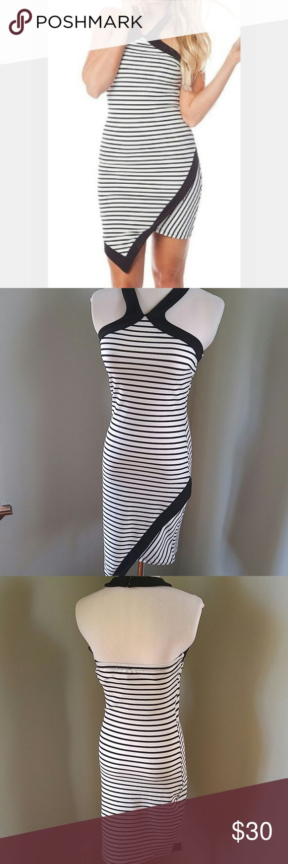 Black and white striped body con dress Assymetrical front makes this sexy dress extra unique. Two buttons on back of halter neck. Polyester spandex. Dress is marked medium but definitely fits small. My dress form is 34/25/35 for reference. Dresses Midi