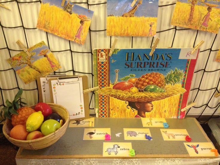 Interactive maths display - Handa's Surprise - one less
