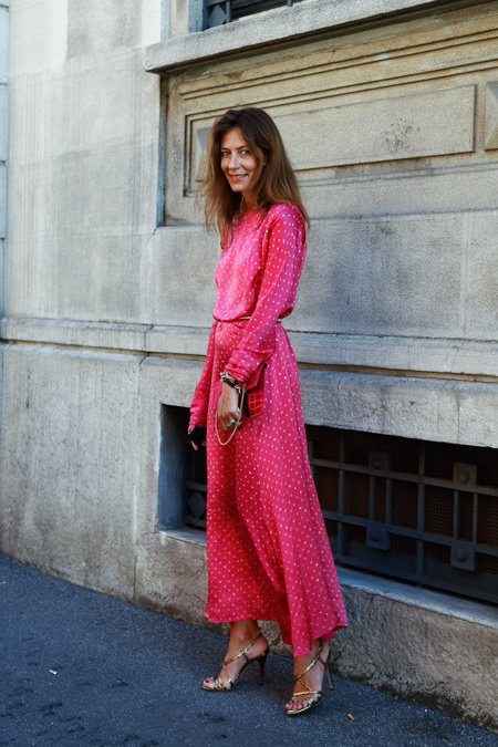 pink polka dot maxi dress