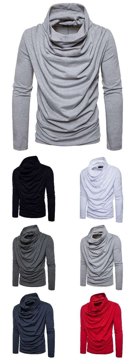 Solid Pile Collar Long Sleeved Pullover