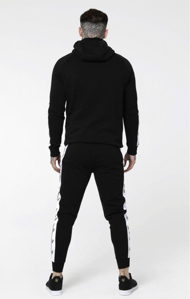 Black//White SIK SILK Inset Zip Through Hoodie