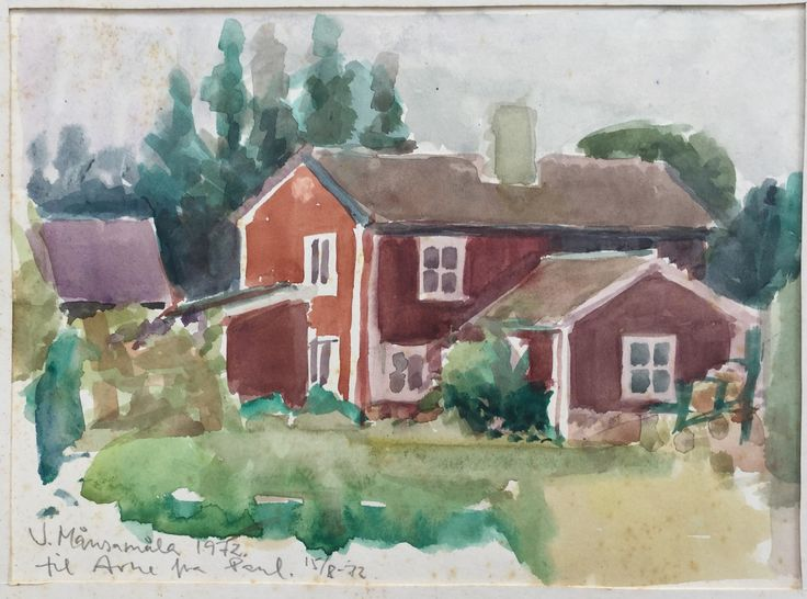 Paul Stoltze  Watercolor painting of Arne and Tullas  house in Månsamåla in Sweden (Pharyah)